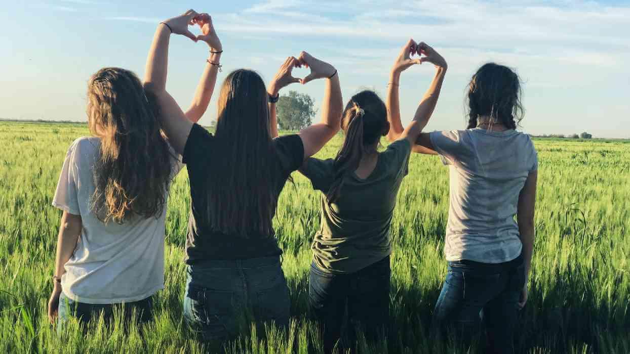 Quatre filles se tiennent la main dans un champ